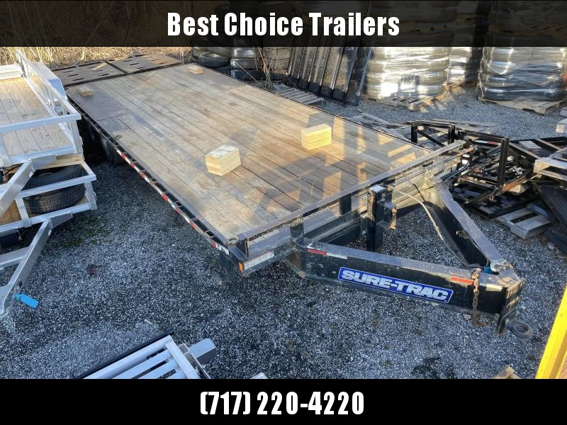 "USED 2018 Sure-Trac 102x25' HD Beavertail Deckover Trailer 17600# GVW * 8000# AXLES * 17.5"" 16-PLY TIRES * 3 3/8"" BRAKES * FULL WIDTH RAMPS (STAND UP OR FLIPOVER) * 12"" I-BEAM * PIERCED FRAME * RUBRAIL/STAKE POCKETS/PIPE SPOOLS/10 D-RINGS"