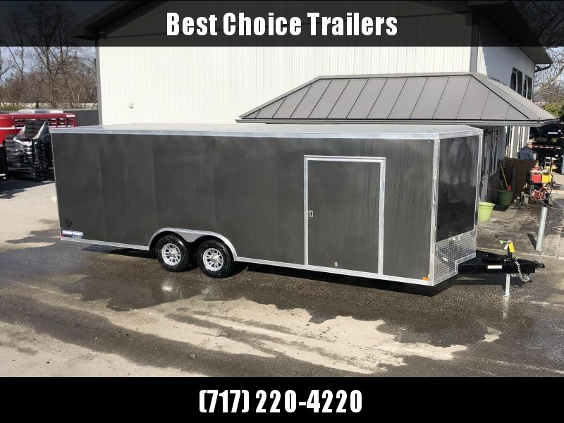 "2021 Sure-Trac 8.5x20' Deluxe Pro Series Enclosed Car Hauler Trailer 9900# GVW * CHARCOAL EXTERIOR * V-NOSE * RAMP * 5200# TORSION AXLES * NUDO FLOOR & RAMP * VINYL WALLS * ESCAPE HATCH * .030 SCREWLESS EXTERIOR * ALUMINUM WHEELS * 1 PC ROOF * 48"" RV DOOR"