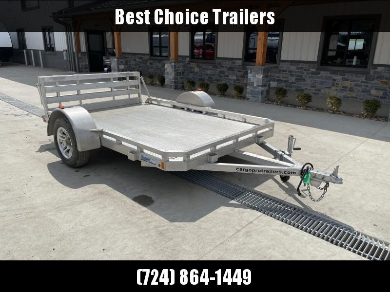 USED 2017 CargoPro 6.5x10' All Aluminum Utility Landscape Trailer 2990# GVW * EXTRUDED ALUMINUM FLOOR * D-RINGS * TRIPLE TUBE TONGUE * BI-FOLD GATE
