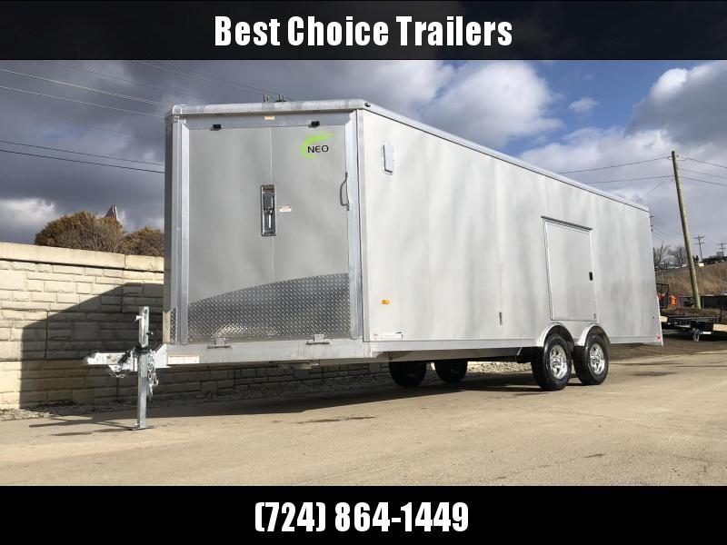 2021 NEO 8.5x22' NMS Aluminum Enclosed All Sport Car Hauler Trailer 9990# GVW * SILVER * BIKES UTV'S SNOWMOBILE CARS ATV'S * ROUND TOP * ALUM WHEELS * 5200# TORSION * VINYL WALLS * FRONT RAMP * ESCAPE HATCH