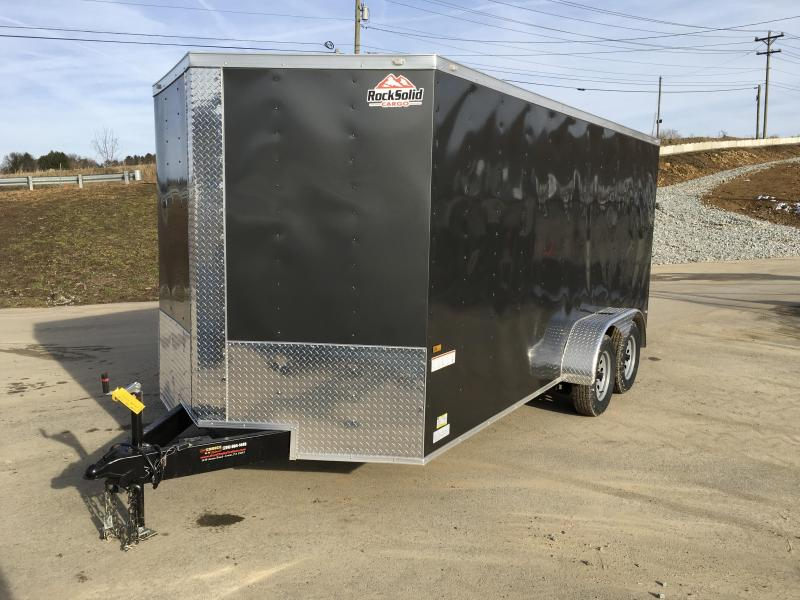 2021 Rock Solid Cargo 7x16' Enclosed Cargo Trailer 7000# GVW *  CHARCOAL EXTERIOR * RAMP DOOR * RV DOOR * 16IN O.C. C/M * TUBE STUDS * PLYWOOD WALLS AND FLOOR
