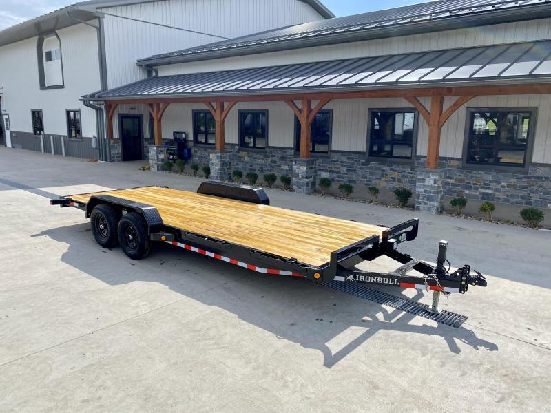 "2022 Ironbull 7x20' Wood Deck Car Hauler Trailer 9990# GVW * OVERWIDTH REAR SLIDEOUT RAMPS * 16"" O.C. FLOOR * CHANNEL C/M * RUBRAIL/STAKE POCKETS/PIPE SPOOLS/D-RINGS * ADJUSTABLE COUPLER * 7K JACK * 2-3-2- WARRANTY * DEXTER'S * CLEARANCE"