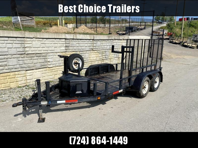 USED 2005 Fair West 66x12' Equipment Trailer 8000# GVW * ADJUSTABLE COUPLER * DROP LEG JACK * MESH CHAIN TRAY * TOOLBOX * SPARE TIRE * DIAMOND PLATE FLOOR * D-RINGS * SPLIT GATE * FORKHOLDERS * 5200# AXLES