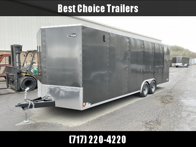 "2022 ITI Cargo 8.5x24 Enclosed Car Hauler Trailer 9900# GVW * CHARCOAL EXTERIOR * .030 SEMI-SCREWLESS * RV DOOR * 1 PC ROOF * 3/8"" WALLS * 3/4"" FLOOR * TRIPLE TUBE TONGUE * 6'6"" INTERIOR * 24"" STONEGUARD * HIGH GLOSS PAINTED FRAME"