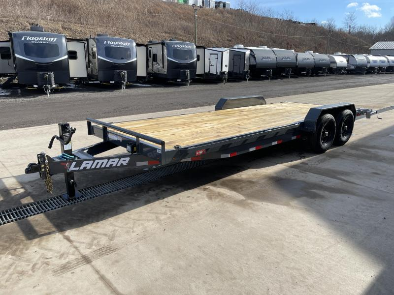 "2021 Lamar 7x22' Car Hauler Trailer 14000# GVW * CHARCOAL POWDERCOATING * 12K DROP LEG JACK * 16"" O.C. CHANNEL C/M * ADJUSTABLE CAST COUPLER * RUBRAIL/STAKE POCKETS/PIPE SPOOLS/D-RINGS * REAR JACKSTANDS"