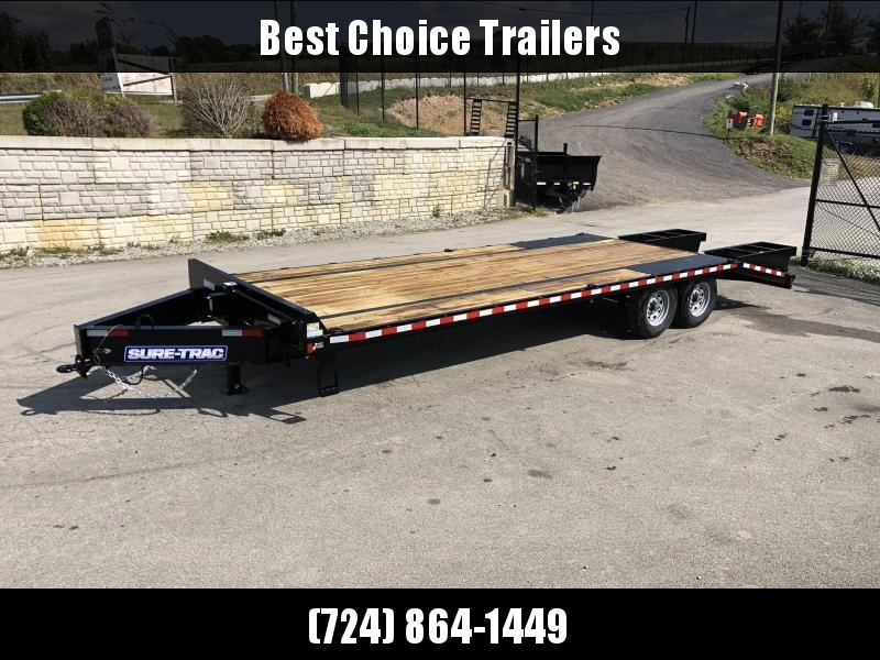 "2020 Sure-Trac 102x25' HD Beavertail Deckover Trailer 15000# GVW * FLIPOVER RAMPS + SPRING ASSIST * 12"" I-BEAM MAINFRAME * PIERCED FRAME * RUBRAIL/STAKE POCKETS/PIPE SPOOLS/10 D-RINGS * CROSS TRAC BRACING * HD DOVETAIL W/ TUBULAR BUMPER"