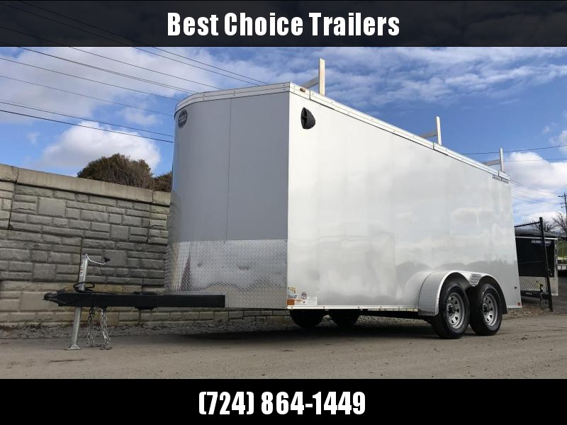 "2020 Wells Cargo 7x16' Road Force Enclosed Contractor Trailer 7000# GVW * BLACK * CONTRACTOR PACKAGE * 3 LADDER RACKS * 3/4"" WALLS * SCREWLESS .030 EXTERIOR * 1 PC ALUM ROOF * 6'6"" HEIGHT * TUBE STUDS * RV DOOR * ARMOR GUARD * EXTENDED TRIPLE TUBE TONGUE"