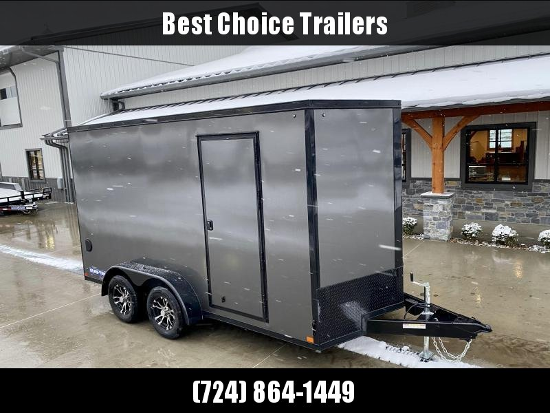 "2021 Sure-Trac 7x16' Enclosed Cargo Trailer 7000# GVW * CHARCOAL EXTERIOR * BLACKOUT TRIM PACKAGE * TORSION * .030 SCREWLESS * ALUM WHEELS * 1PC ROOF * 7' UTV HEIGHT * 6"" FRAME * LED LIGHTS * BACKUP LIGHTS * 22"" LOADING LIGHTBAR"