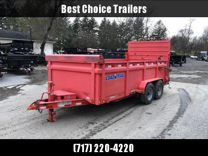 2015 Load Trail 7x16' Dump Trailer 14000# GVW * 6' HYDRAULIC GATE W/ DUAL PISTON * 3' HIGH SIDES * SWIVEL JACKS * 12K JACK * SCISSOR HOIST * TARP KIT * I-BEAM FRAME