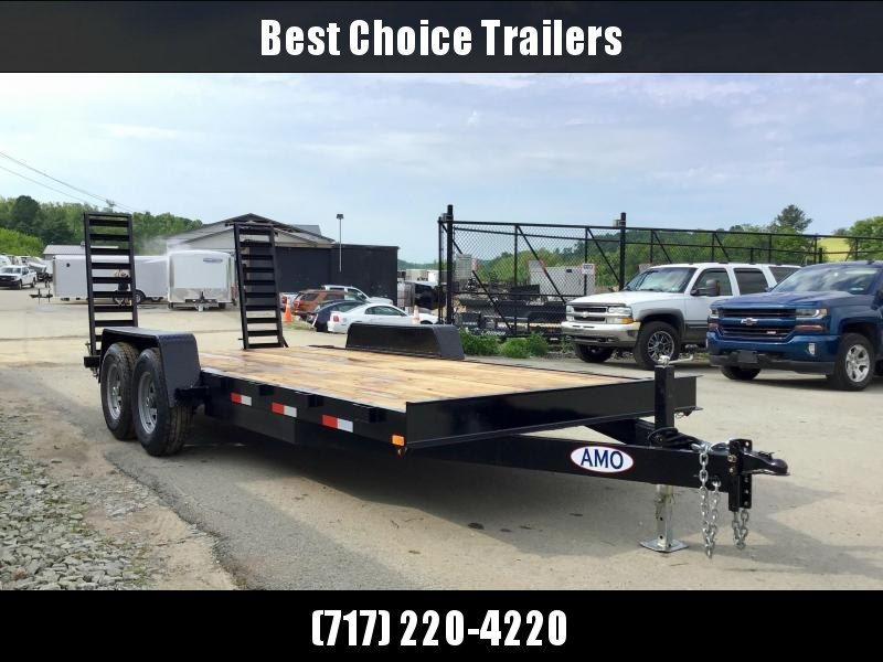 """2021 AMO 7x18' Equipment Trailer 12000# GVW * ALL LED LIGHTS * STAND UP RAMPS * BEAVERTAIL * STACKED 6"""" CHANNEL TONGUE/FRAME * REMOVABLE FENDERS"""