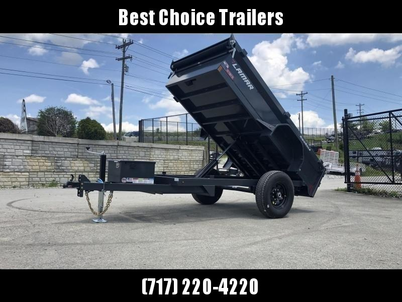 "2021 Lamar 5x10' Single Axle Dump Trailer 7000# GVW * BARN DOOR GATE * DELUXE TARP * UNDERMOUNT RAMPS * ADJUSTABLE COUPLER * DROP LEG JACK * RIGID RAILS * 110V CHARGER * DOUBLE CHANNEL FRAME * 10GA FLOOR * POWER UP/DOWN * 16"" TIRES * 7K AXLES"