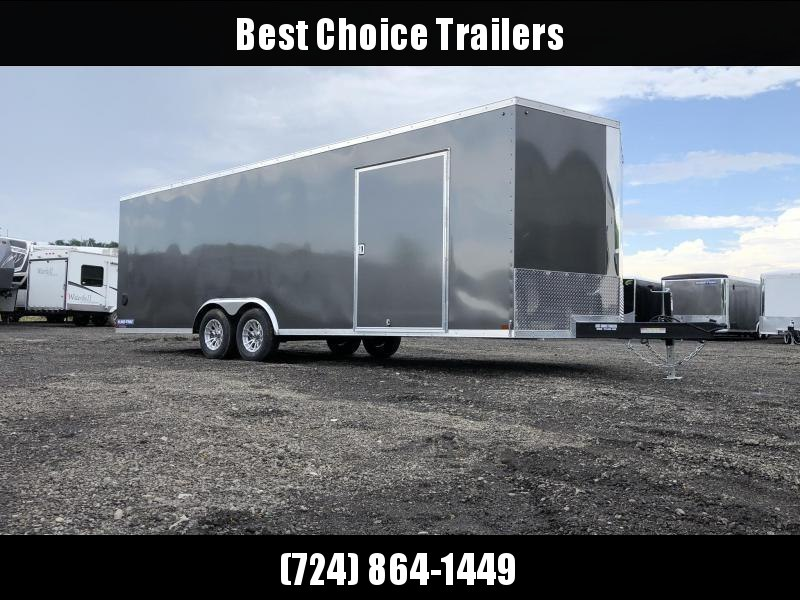 "2020 Sure-Trac 8.5x20' Pro Series Enclosed Car Hauler Trailer 9900# GVW * CHARCOAL EXTERIOR * V-NOSE * RAMP * 5200# AXLES * .030 SCREWLESS EXTERIOR * ALUMINUM WHEELS * 1 PC ROOF * 6"" FRAME * 16"" O.C. C/M * PLYWOOD * TUBE STUDS * 48"" RV DOOR * 7K DROP JACK"