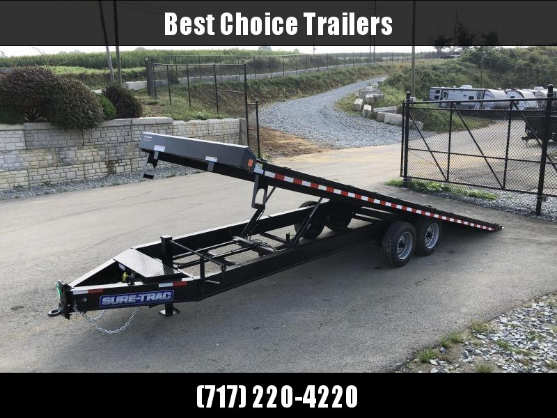 """2021 Sure-Trac 102x24' Power Tilt Deckover 17600# GVW * SCISSOR HOIST * HYDRAULIC JACK * 8000# AXLES * 17.5"""" 16-PLY TIRES * WINCH PLATE * OAK DECK UPGRADE * 3 3/8"""" BRAKES * 4X4X1/4"""" TUBE BED RUNNERS * RUBRAIL/STAKE POCKETS/PIPE SPOOLS/8 D-RINGS * LOW LOAD"""