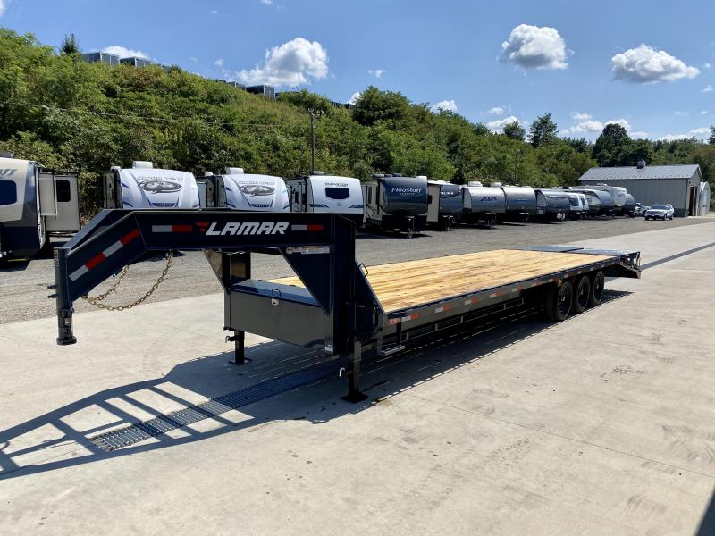 """2021 Lamar 102x30' Gooseneck Beavertail Deckover Trailer 21000# GVW * FULL WIDTH (STAND UP OR FLIPOVER) RAMPS * 12"""" I-BEAM FRAME * FRONT TOOLBOX * DUAL JACKS * CHARCOAL * 16"""" O.C. C/M * RUBRAIL/STAKE POCKETS/PIPE SPOOLS * 4X8"""" TUBE BUMPE"""
