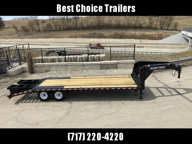 "2020 Sure-Trac 102x25' Gooseneck Beavertail Deckover Trailer 15000# GVW * FLIPOVER RAMPS+SPRING ASSIST * DUAL 12K JACKS * FULL TOOLBOX * 12"" PIERCED I-BEAM FRAME * RUBRAIL/STAKE POCKETS/PIPE SPOOLS/10 D-RINGS * CROSS TRAC"