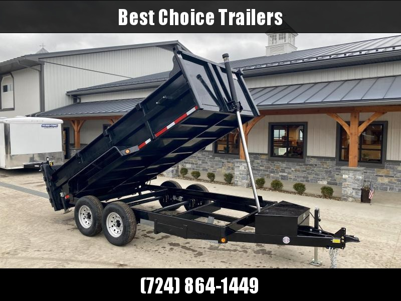 2021 Quality Steel and Aluminum 7x14' Dump Trailer 14000# GVW * TELESCOPIC HOIST * FRONT/REAR BULKHEAD * STAB JACKS * RAMP/BARN DOOR COMBO GATE * ADJUSTABLE COUPLER * DROP LEG JACK * D-RINGS * SPARE TIRE MOUNT * TARP PREP