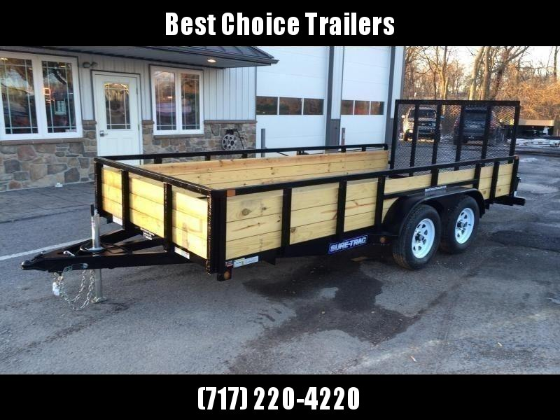 "2021 Sure-Trac 7x14' High Side Utility Landscape Trailer 7000# GVW * 24"" 3-BOARD HIGH SIDE * 2"" TUBE TOP RAIL * 2X2"" TUBE GATE C/M + SPRING ASSIST + FOLD FLAT * TOOLESS GATE REMOVAL * SPARE MOUNT * PROTECTED WIRING * SET BACK JACK * TRIPLE TUBE TONGUE * D"