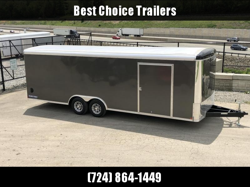 "2019 Sure-Trac 8.5x24' Pro Series Enclosed Car Hauler Trailer 9900# GVW * CHARCOAL EXTERIOR * .030 SCREWLESS EXTERIOR * ROUND TOP * ALUMINUM WHEELS * 1 PC ROOF * 7K DROP JACK * 6"" TUBE FRAME * 48"" RV DOOR * PLYWOOD * 5200# AXLES * TUBE STUDS * CLEARANCE"