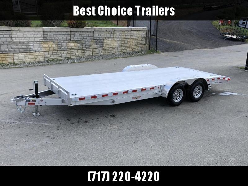 "2022 H and H 7x18' Aluminum Car Hauler Trailer 7000# GVW * HEAVY DUTY 6"" TONGUE/FRAME * EXTRUDED BEAVERTAIL * SET BACK JACK * ALUMINUM WHEELS * REMOVABLE FENDERS * CHANNEL C/M * RUBRAIL"
