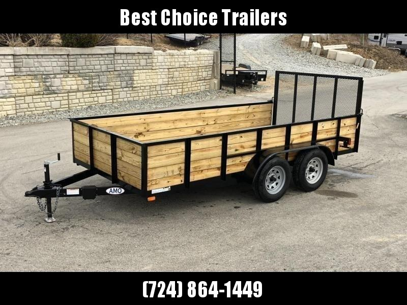 2021 AMO 78x14' High Side Utility Landscape Trailer 7000# GVW * 4-BOARD HIGH SIDE * 2' SIDES * TOOLESS GATE REMOVAL * TIE DOWNS * LED'S