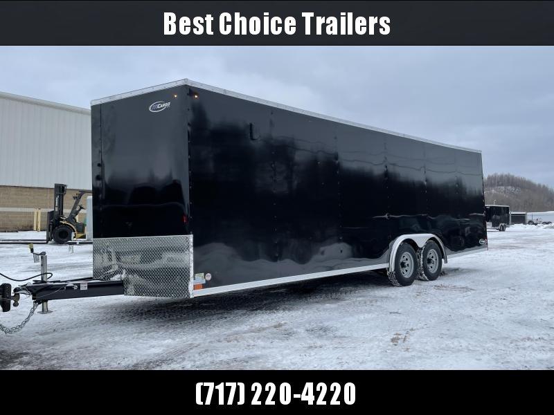 "2021 ITI Cargo 8.5x24 Enclosed Car Hauler Trailer 9900# GVW * BLACK EXTERIOR * .030 SEMI-SCREWLESS * RV DOOR * 1 PC ROOF * 3/8"" WALLS * 3/4"" FLOOR * PLYWOOD * TRIPLE TUBE TONGUE * 6'6"" INTERIOR * 24"" STONEGUARD * HIGH GLOSS PAINTED FRAME * D-RINGS"