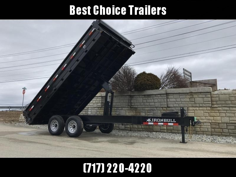 "2021 Ironbull 8x18' Deckover Dump Trailer 16000# GVW * DEXTER 8000# AXLES * TARP KIT * 10"" I-BEAM FRAME * BED RUNNERS * 12K JACK * FOLD DOWN SIDES * OVERSIZE 5x20 SCISSOR * INTGRATED KEYWAY/10GA WALLS * DEXTER'S * 2-3-2 WARRANTY"