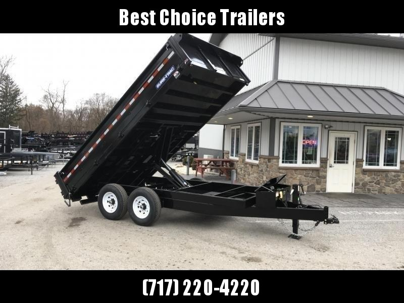 """2021 Sure-Trac 8x16' Deckover Dump Trailer 14000# GVW * 20"""" FOLD DOWN SIDES * EXTENDED 90"""" UNDERMOUNT RAMPS * OVERSIZE 8"""" TUBE TONGUE/6"""" HEAVY WALL FRAME * 12K JACK * 6"""" SCISSOR HOIST * INTEGRATED KEYWAY * UNDERBODY TOOL TRAY"""
