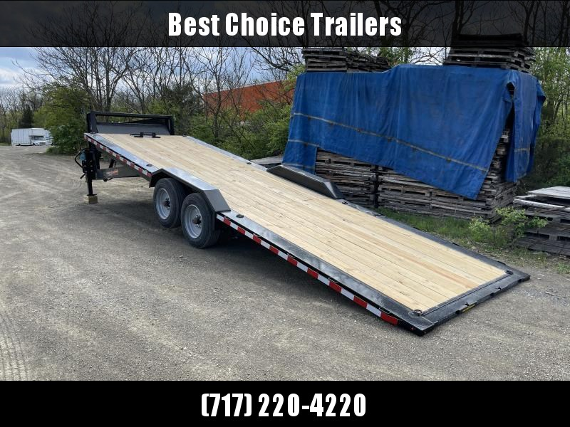 "2021 H&H 102x24' Gooseneck Power Tilt Equipment Trailer 14000# GVW * GOOSENECK COUPLER * POWER TILT * FRONT TOOLBOX * 102"" DECK OUTRIGGERS * DRIVE OVER FENDERS * WINCH PLATE * INTEGRATED TAIL LIGHTS * CHANNEL C/M"