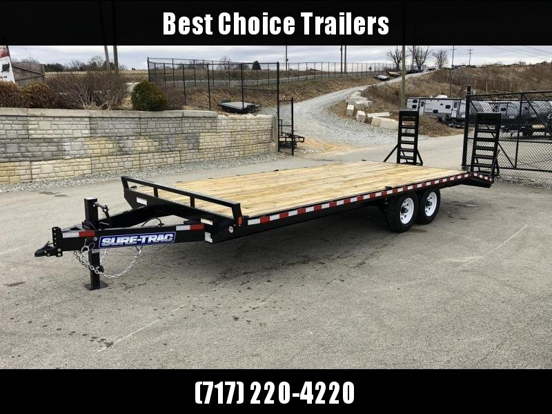 "2020 Sure-Trac 102x24 Beavertail Deckover Trailer 15000# GVW * HD 4"" CHANNEL STAND UP RAMPS + SPRING ASSIST * 10"" I-BEAM MAINFRAME * CHANNEL SIDE RAIL * RUBRAIL/STAKE POCKETS/D-RINGS * ADJUSTABLE COUPLER * 12K DROP LEG JACK * LED'S * POWDERCOATED"