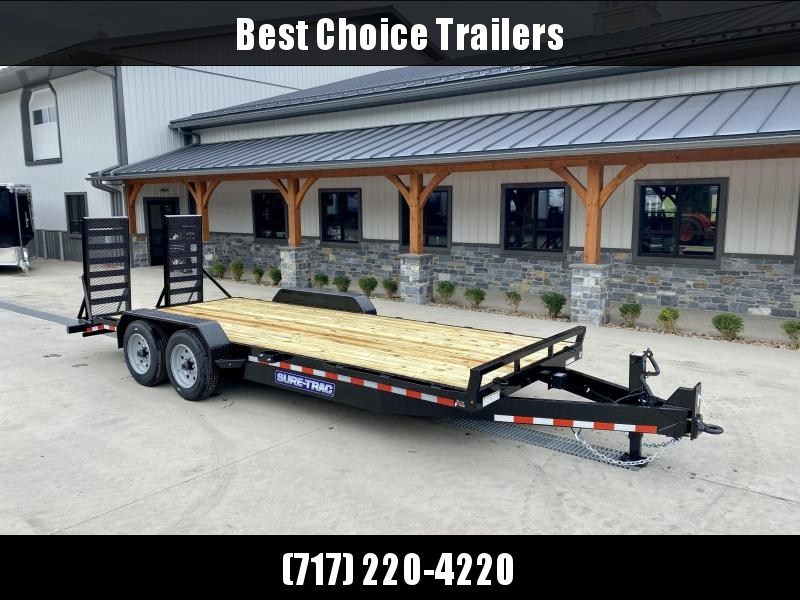 """2022 Sure-Trac 7x20' Equipment Trailer 16000# GVW * 8000# AXLE UPGRADE * HD 4"""" CHANNEL STAND UP RAMPS W/ SPRING ASSIST * 17.5"""" 16-PLY RUBBER * 3 3/8"""" BRAKES * 8"""" TONGUE * HD COUPLER * 12K JACK * RUBRAIL/STAKE POCKETS/D-RINGS * SPARE MOUNT"""