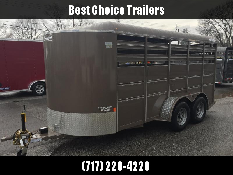 2021 Delta 12' Livestock Trailer 7000# GVW * BEIGE * CENTER GATE * ESCAPE DOOR * DEXTER