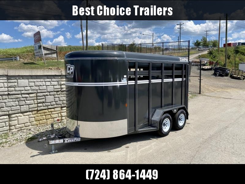 "2020 Corn Pro 7x14' Livestock Trailer 7000# GVW * GREY/CHARCOAL * TORSION SUSPENSION * DEXTER AXLES * 225/75/R15 8-PLY TIRES * HD FENDERS * CENTER AND REAR SLAM GATES * 4"" CHANNEL TONGUE * URETHANE PAINT * KILN DRIED LUMBER * 7' HEIGHT * 2 HORSE SLANT"