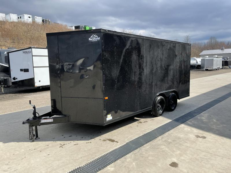 2021 Rock Solid Cargo 8.5x16' Enclosed Car Trailer 7000# GVW *  BLACKOUT PACKAGE * RAMP DOOR * RV DOOR * 16IN O.C. C/M * TUBE STUDS * PLYWOOD WALLS AND FLOOR