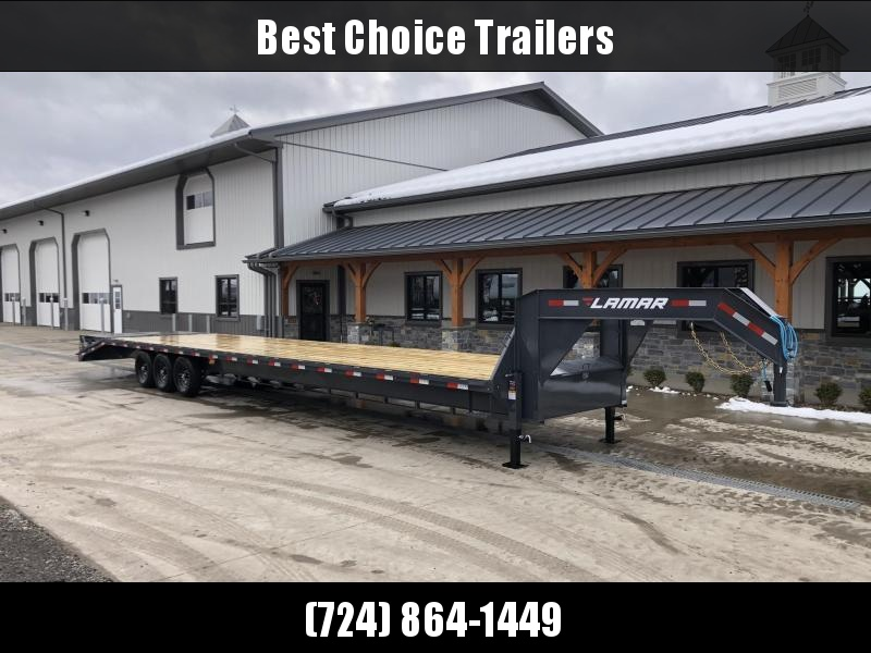 "2021 Lamar 102x40' Gooseneck Beavertail Deckover Trailer 21000# GVW * FULL WIDTH (STAND UP OR FLIPOVER) RAMPS * 12"" I-BEAM FRAME * FRONT TOOLBOX * DUAL JACKS * 16"" O.C. C/M * RUBRAIL/STAKE POCKETS/PIPE SPOOLS * 4X8"" TUBE BUMPE"