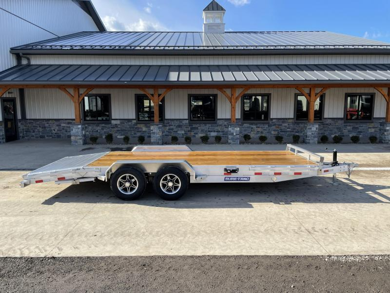 """2021 Sure-Trac 7x22' Aluminum Wood Deck Car Hauler 9900# GVW * 8"""" CHANNEL FRAME * REMOVABLE FENDERS * SEALED WIRING HARNESS * STAKE POCKETS/RUBRAIL * 4' EXTRUDED DOVETAIL * ALUMINUM WHEELS * SPARE TIRE MOUNT"""