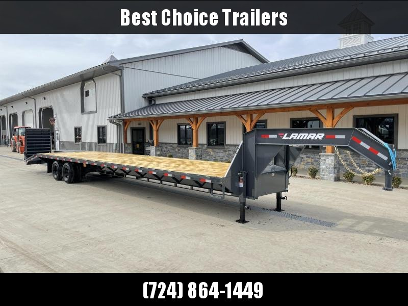 "2021 Lamar 102x40' Gooseneck Beavertail Deckover Trailer 24000# * 12000# DEXTER AXLES * FULL WIDTH RAMPS * 12"" / 22# I-BEAM * FRONT TOOLBOX / DUAL JACKS * UNDER FRAME BRIDGE"
