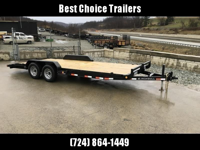 "2021 Ironbull 7x20' Wood Deck Car Hauler Trailer 9990# GVW * OVERWIDTH REAR SLIDEOUT RAMPS * 16"" O.C. FLOOR * CHANNEL C/M * RUBRAIL/STAKE POCKETS/PIPE SPOOLS/D-RINGS * ADJUSTABLE COUPLER * 7K JACK * 2-3-2- WARRANTY * DEXTER'S"
