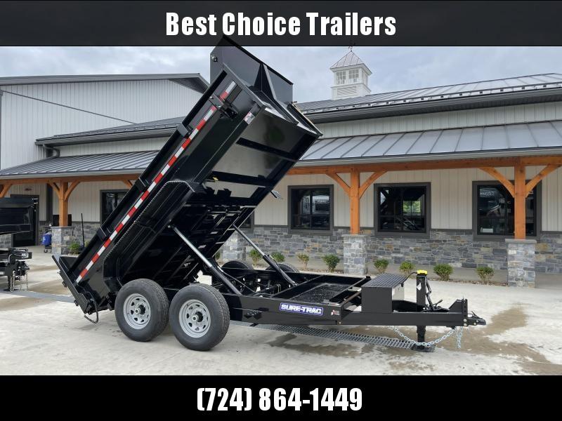 2022 Sure-Trac 7x12' Dump Trailer 14000# GVW * TARP KIT * DUAL PISTON * FRONT/REAR BULKHEAD * INTEGRATED KEYWAY * 2' SIDES * UNDERBODY TOOL TRAY * ADJUSTABLE COUPLER * 110V CHARGER * UNDERMOUNT RAMPS * COMBO GATE * 12K DROP LEG JACK * CLEARANCE
