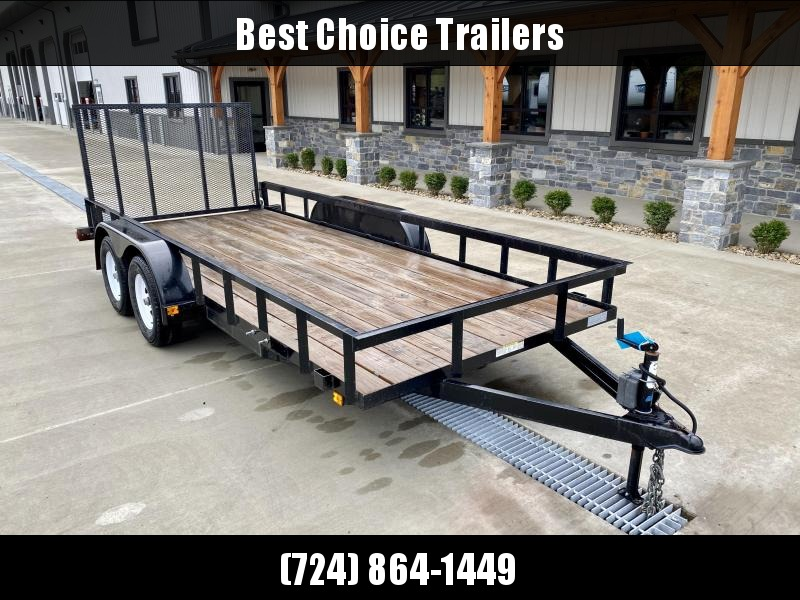 """USED 2019 Currahee 7x16' Angle Iron Landscape Utility Trailer 7000# GVW * 4"""" CHANNEL TONGUE * SPARE TIRE MOUNT * STAKE POCKETS * TUBE GATE * FOLD FLAT GATE"""