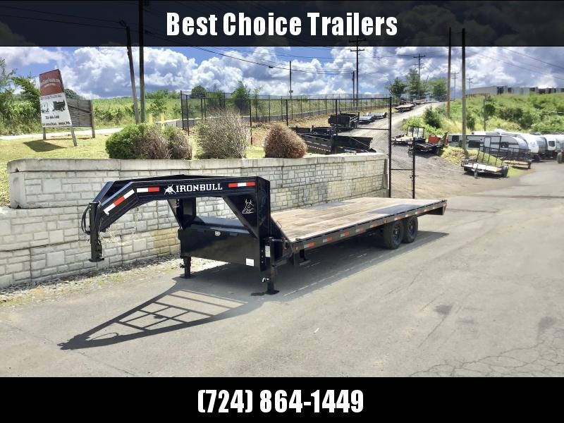 "2020 Ironbull 102x25' Gooseneck Deckover 14000# GVW * 8' SLIDE IN RAMPS * 10"" I-BEAM FRAME * RUBRAIL/STAKE POCKETS/PIPE SPOOLS/D-RINGS * DUAL JACKS * FULL TOOLBOX * TUBE SIDE RAIL * DEXTER'S * 2-3-2 WARRANTY"