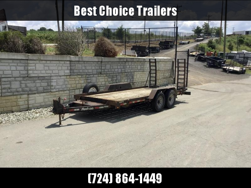 USED 2010 Hudson 7x16' 14790# GVW Equipment Trailer * STAND UP RAMPS * ADJUSTABLE PINTLE COUPLER * TOOLBOX * S[ARE WHEEL/TIRE * D-RINGS/STAKE POCKETS