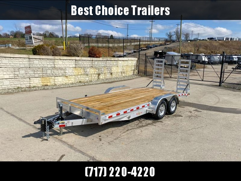 "2021 H&H 7x18' Aluminum Equipment Trailer 9990# GVW * STAND UP ALUMINUM RAMPS * 4 SWIVEL D-RINGS * EXTRA STAKE POCKETS * SPARE TIRE MOUNT * HD 8"" CHANNEL FRAME * REMOVABLE FENDERS * ALUMINUM WHEELS * ADJUSTABLE COUPLER * 7K DROP JACK"