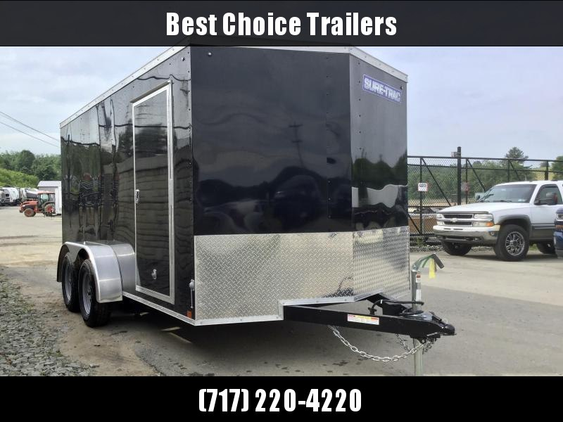 2021 Sure-Trac 7X14' Enclosed Cargo Trailer 7000# GVW * BLACK EXTERIOR * V-NOSE * RAMP DOOR * RV DOOR * 0.30 SEMI-SCREWLESS EXTERIOR * TUBE STUDS