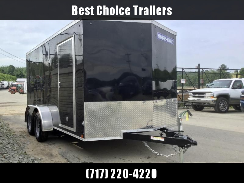 2021 Sure-Trac 7X14' Enclosed Cargo Trailer 7000# GVW * BLACK EXTERIOR * V-NOSE * RAMP DOOR * RV DOOR * 0.30 SEMI-SCREWLESS EXTERIOR * TUBE STUDS