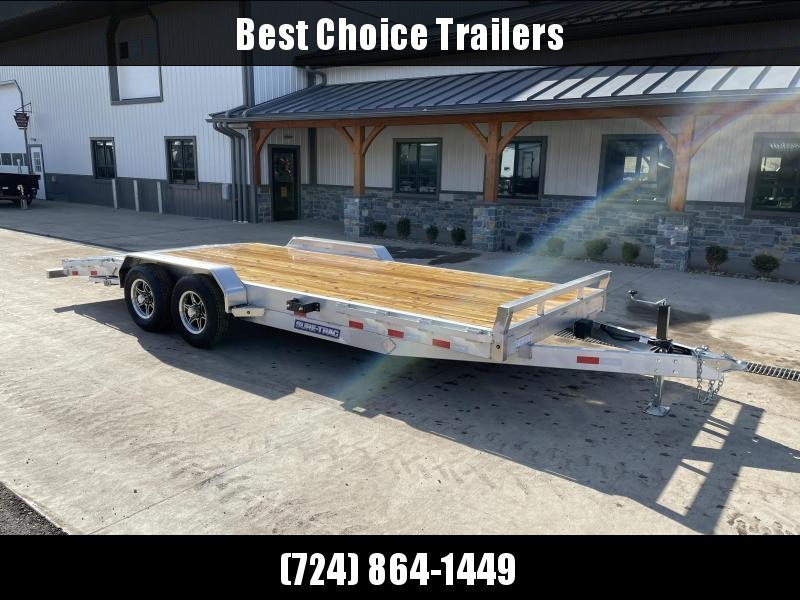 "2021 Sure-Trac 7x22' Aluminum Wood Deck Car Hauler 9900# GVW * 8"" CHANNEL FRAME * REMOVABLE FENDERS * SEALED WIRING HARNESS * STAKE POCKETS/RUBRAIL * 4' EXTRUDED DOVETAIL * ALUMINUM WHEELS * SPARE TIRE MOUNT"