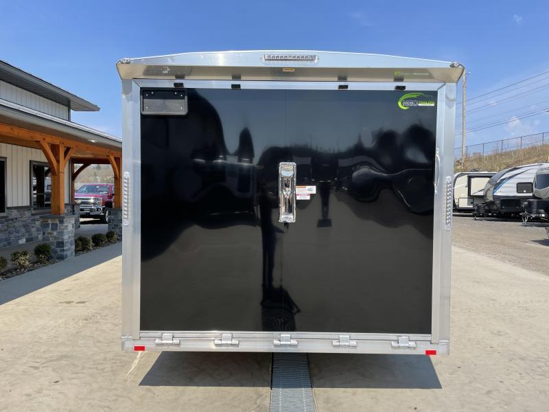 2021 NEO 8.5x24' NACX Aluminum Enclosed Car Hauler Trailer 9990# GVW * BLACK EXTERIOR * ESCAPE DOOR * 5200# TORSION * BULLNOSE * SPREAD AXLE * DRT REAR SPOILER * NXP RAMP * ROUND TOP * HD FRAME * ALUMINUM WHEELS * RV DOOR * 1 PC ROOF