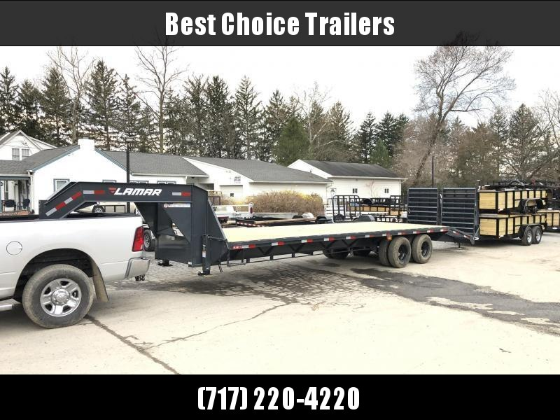"2020 Lamar 102x32' Gooseneck Beavertail Deckover Trailer 25900# * 12000# DEXTER AXLES * FULL WIDTH RAMPS * 12"" / 22# I-BEAM * FRONT TOOLBOX / DUAL JACKS * UNDER FRAME BRIDGE"