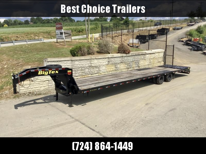 USED 2019 Big Tex 102x35+5' Gooseneck Beavertail Deckover Trailer 23900# GVW * FULL WIDTH RAMPS * PIERCED FRAME * DEXTER AXLES