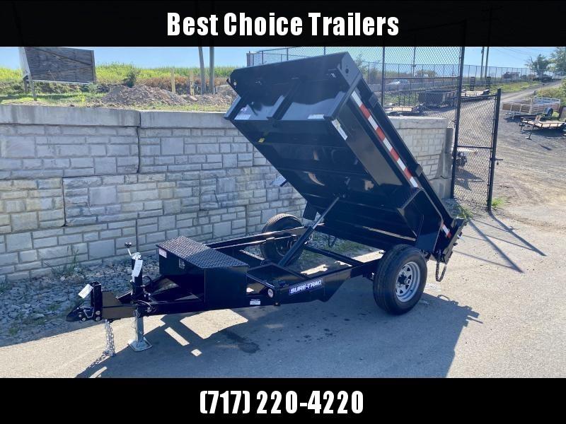 2021 Sure-Trac 5x8' Single Axle Dump Trailer 5000# GVW * TARP KIT * COMBO DOORS * ADJUSTABLE COPUPLER * DROP LEG JACK * INTEGRATED KEYWAY * SPARE TIRE MOUNT * TARP PREP * D-RINGS * DIAMOND PLATE FENDERS * POWER UP/POWER DOWN * TRIPLE TUBE TONGUE * BULLET