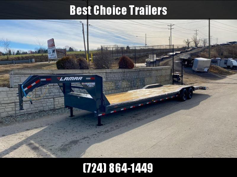 "2021 Lamar 102x32' Gooseneck Car Hauler Trailer 14000# GVW * 102"" DECK * DRIVE OVER FENDERS * OVERLENGTH 7' SLIDE IN RAMPS * 4' DOVETAIL * RUBRAIL * SWIVEL JACKS * UNDER FRAME BRIDGE * DUAL JACKS * FULL TOOLBOX * CHARCOAL W/ BLACK WHEELS"